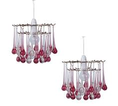 pair of reddy pink and clear acrylic droplets easy fit pendants