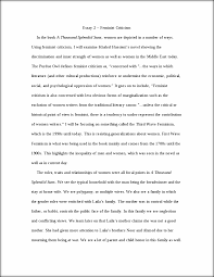 lit essay feminist criticism essay feminist criticism  this preview has intentionally blurred sections sign up to view the full version