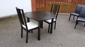 ikea black bjursnas round dining table 2 black white borje chairs free delivery 02672