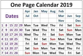 one page calender one page calendar 2019 interestingasfuck