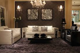 Wall Decor For Living Rooms Postmodern Living Room Wallpaper Shag Carpet Mirrored Leather