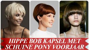 Hippe Bob Kapsel Met Schuine Pony Voorjaar 2018