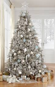 Stunning silver, white, and pops of light blue Christmas tree decorations