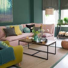 green living room ideas mix with blush pink