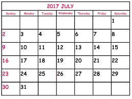 Image result for july calendar 2017