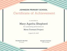 Cooking Certificate Template Interesting Triangles And Stripes Achievement Certificate Templates By Canva