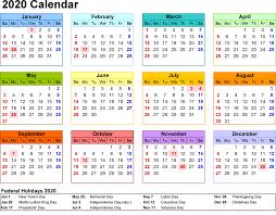 2020 Calendar Printable With Holidays And Notes Calendar