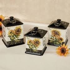 Yellow Kitchen Canister Set French Sunflowers Kitchen Canister Set