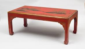 chinoiserie red lacquered coffee table