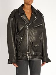 oversized tumbled leather biker jacket