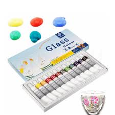 12 color 12ml waterproof non toxic glass paint set stain glass painting kit