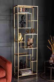 tall gold glass art deco shelving