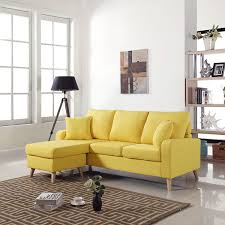 small space sectional sofa. Mid Century Modern Linen Fabric Small Space Sectional Sofa | Homeforthefurniture.com