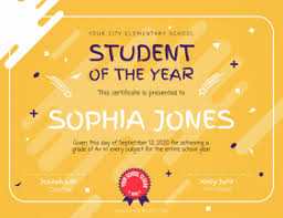 Student Of The Month Certificate Templates Free Printable Certificate For Students Postermywall