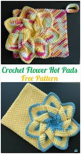 Free Crochet Potholder Patterns Beauteous Crochet Flower Hot Pads Free Pattern Crochet Pot Holder Hotpad