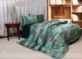 blue green pea tail natural mulberry silk comforter bedding set king size queen comforters quilt duvet cover bed sheet bedspread phoeni bed linen