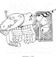Small Picture Vector of a Cartoon Raptor Goalie Coloring Page Outline by