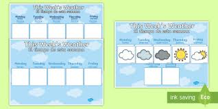 Weekly Weather Recording Chart Display Poster English