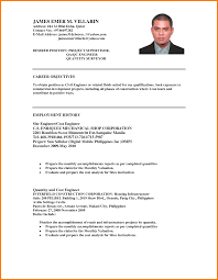 Resume No Nos Objectives Resume Sample Samples For No Job Experience Objective Ojt 83