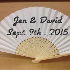 white paper hand fan with organza bag wedding souvenir for guests