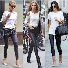monochrome outfit ideas with black leather skinny pants for summer
