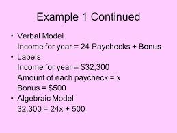example 1 continued verbal model
