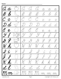 Cursive UpperLower Case Tracing worksheet A M