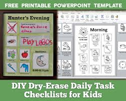 free printable charts and checklists. DIY Dry Erase Daily Task Checklists For Kids - FREE Printable PowerPoint Template And Illustrations With Free Charts T