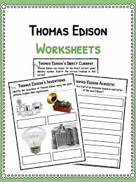 Thomas Edison Facts Biography Information Worksheets For