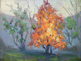 palette knife painters international daily painting small oil painting autumn landscape daily art tree on fire 8x10x1 5 oil