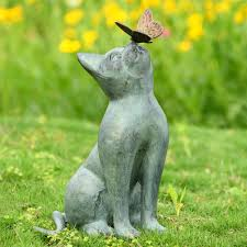 cat aluminum bronze lawn porch yard home garden outdoor sculpture statue decor