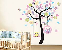 owl swing on the flower tree children vinyl decal