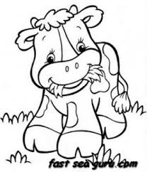 Printable Farm A Happy Cow Babay Coloring Pages Printable Coloring