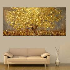 hand painted knife gold tree oil painting on canvas large palette 3d paintings for living room