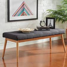 Sasha Oak Angled Leg Linen Dining Bench iNSPIRE Q Modern - Free Shipping  Today - Overstock.com - 18738979