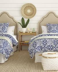 Beach Inspired Bedding Blue And White Bedding With Sisal Rug Coastal Inspired Bedroom