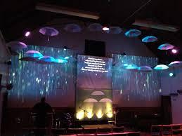 church lighting design ideas. Stage Design Idea: Suspended Umbrella\u0027s With Images Of Rain Falling Or Rainy Landscape. Church Lighting Ideas
