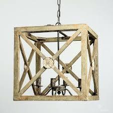 wooden chandelier rustic wood rectangular cube