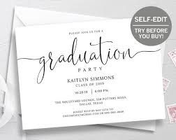 Graduation Announcements Template Graduation Invitation Template Try Before You Buy Graduation Announcement College Graduation Invitation Class Of 2019 2018 Minimalist