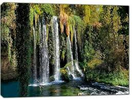 lovely nature waterfall picture print