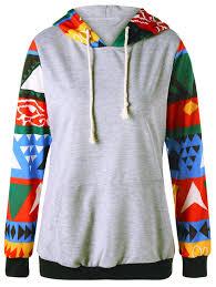 Hoodies Gray L Color Block Geo Print Hoodie Gamiss