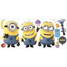 roommates rmk2081gm deable me 2 minions giant l and stick giant wall decals
