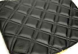quilted leather fabric black inserts w stitching upholstery x diamond faux