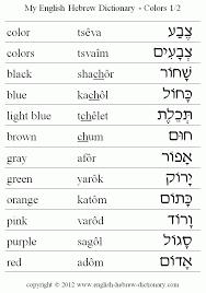 English To Hebrew Colors Vocabulary Color Black Blue