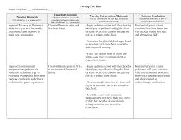 Student Nurse Care Plan Examples