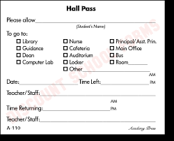 Student Hall Pass School Hall Passes Magdalene Project Org