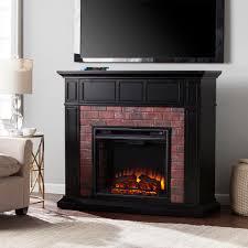 45 50 kyledale faux brick electric a fireplace satin black w faux red brick fe9380 fi9380