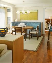 dining room banquette furniture. Decoration: Cool White Dining Room Interior Idea With Awesome Furniture Units Using Blue Accents Banquette N