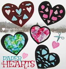 faux stained glass paper hearts