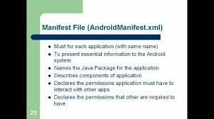 Android Manifest File ...